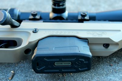 The 7.62 MVP-LC feeds from LR308/SR25-pattern magazines and comes standard with a 10-round Magpul PMAG.
