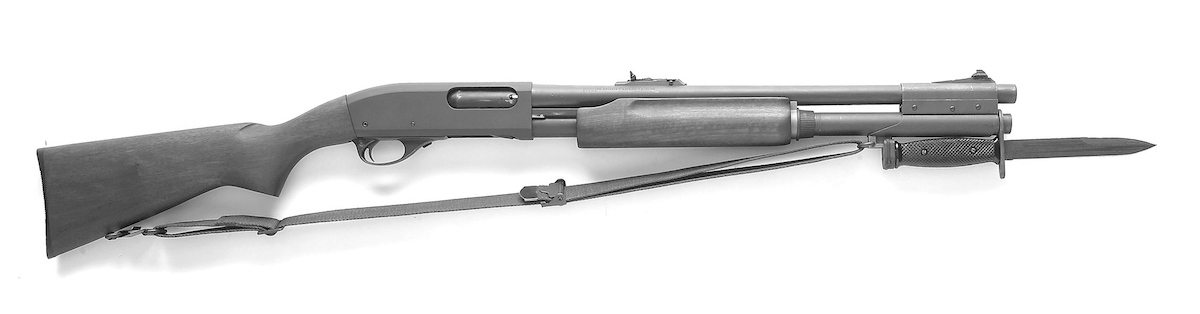 Shown here is the the 870 Mk.1 with an M7 bayonet attached. Note the extended magazine tube and bayonet adapter. Images courtesy of the author.