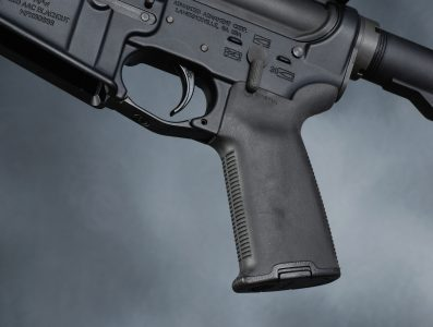 Magpul's MOE+ pistol grip provides a positive purchase as well as a storage compartment. Image courtesy of Camera1.