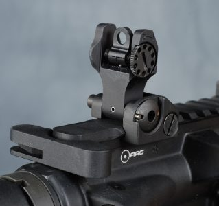 Troy Industries' Battle Sight is the industry standard for folding back-up iron sights in the authors opinion. Image courtesy of Camera1.