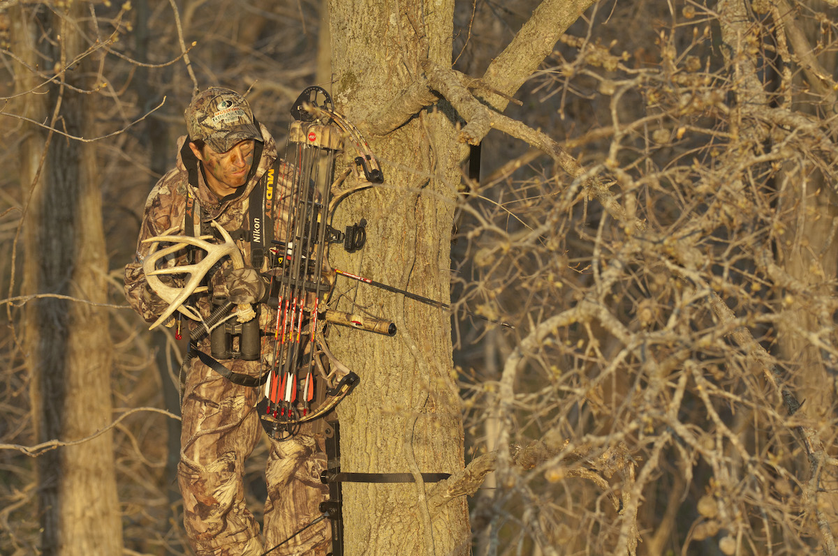 Most hunters prefer the tone of real antlers when rattling, though they can be more cumbersome to pack in to a stand.