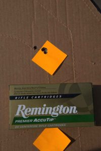 Remington's 165-grain Premier AccuTip was also very accurate, although it always seemed to result in a fifth round flyer.