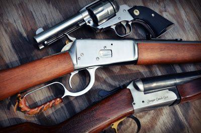 Stoeger Coach Gun Supreme. Pistols: Ruger SASS New Vaquero. Rifle Rossi 1892.