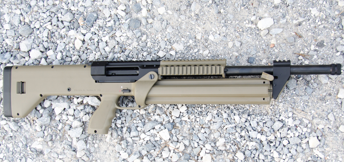 The SRM Arms Model 1216 packs in a lot of firepower into a reasonably compact package. The semi-auto shotgun holds 15 shells of 12 gauge ammo.