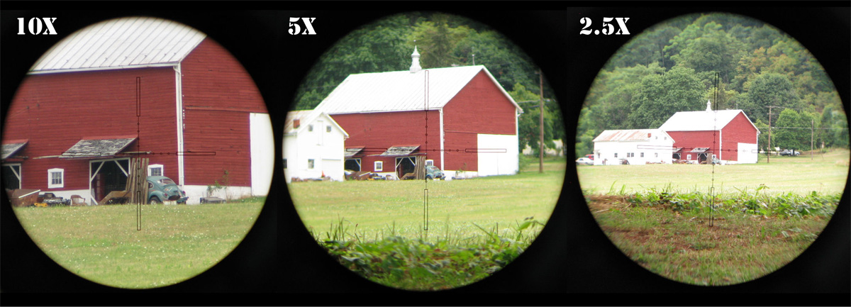 Second focal plane reticles require the magnification to be set to the right power in order to range, in this case 10X. At any other power setting there will errors.
