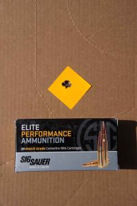 The author's best group came from Sig Sauer's 168-grain OTM Match Grade Rifle load measuring just outside .50 inches.