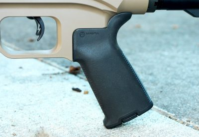The MOE grip provides a sure grip in any condition and the adjustable trigger came in a svelte 2-pound pull out of the box.