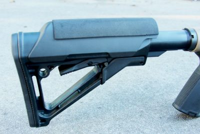 The Magpul CTR stock and cheek riser are standard equipment on the MVP-LC.