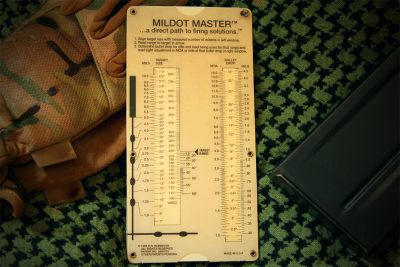 The Mildot Master has been issued to US forces for over a decade. It's simplicity and accuracy allows you to range long distance targets without a calculator.