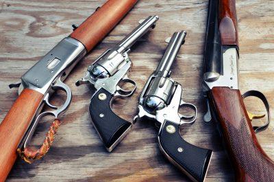 Stoeger Coach Gun Supreme. Pistols: Ruger SASS New Vaquero set. Rifle Rossi 1892.
