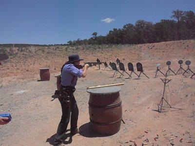 Randi Rogers, AKA Holy Terror, shooting her Cimarron Firearms 1873 rifle at End of Trail SASS World Championship. Photo Credit: Wicked Felina AKA Karen Pearcey