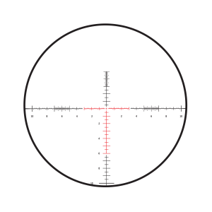 The Burris SCR Mil Lined reticle has a vertical line with 20 mils graduated in half mil increments below the horizontal line. Image courtesy of Burris Optics.