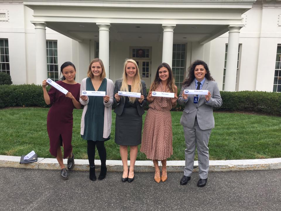 "The ladies of ""Cocks Not Glocks"" at the White House. (Photo: Facebook)"