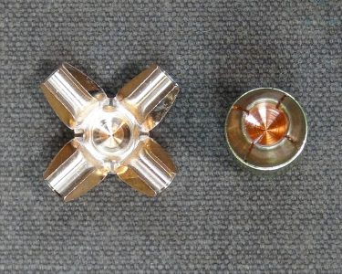 The 185-grain JHP example on the left was provided by Guncrafter Industries and is the result ofit being fired into ballistic gelatin at 1,200 fps.