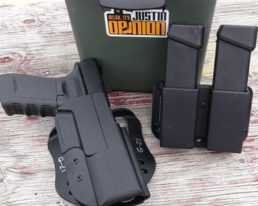 The author's holster and mag carrier for Glock 21 worked perfectly with the .50 GI.