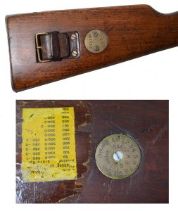 Two types of stock disks were used. The first type was marked with the regiment and rack number – in this instance, S1/No. 1650 signifying that this m/94 carbine belonged to Coastal Artillery Regiment, Uppsala and was number 1,650. The bottom disk was installed with the adoption of the m/41 239-grain, spire point bullet.