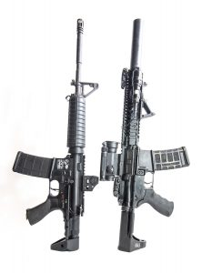 The M7A1 PDW stock (left) and the Tomahawk (right) from Troy Industries give you some great options for micro-sizing your AR.