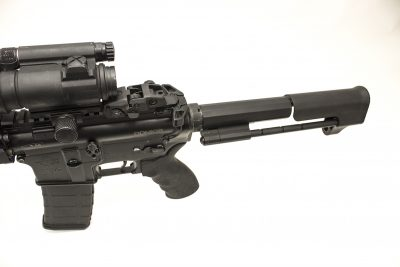 The Tomahawk stock system employs a standard AR bolt carrier group, simplifying installation and lowering costs.