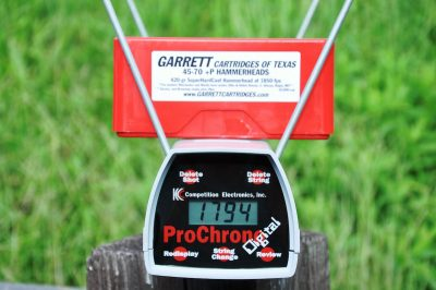Garrett Cartridges' Hammerhead 420-gr. hard cast +P load averaged just under 1,800 fps of pain out of the 1895GBL.