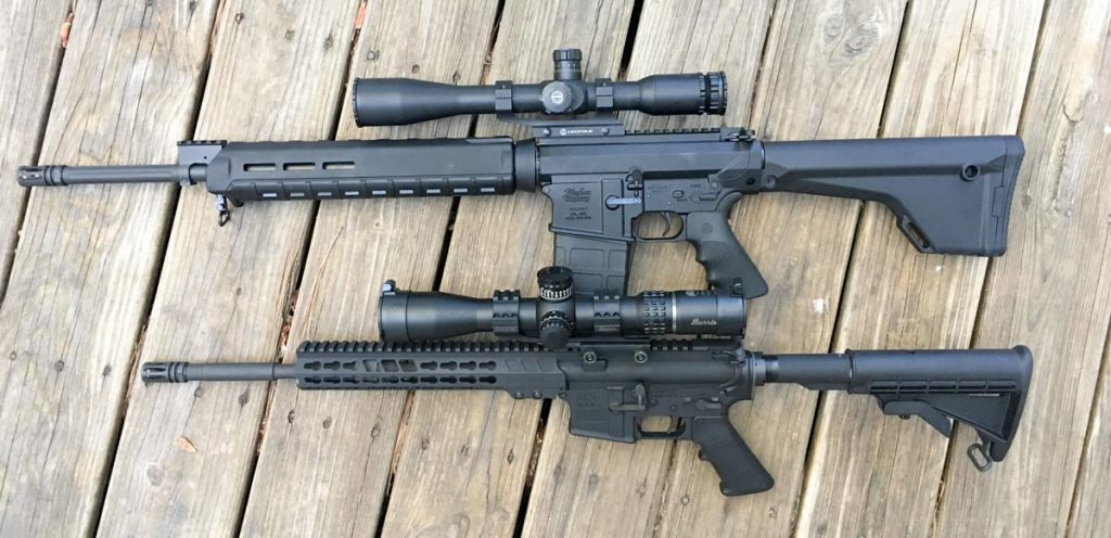 Just for scale, the Windham Weaponry rifle is shown here (top) with the Armalite M-15 we recently reviewed.