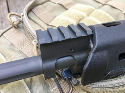 The gas block is consistent with the flat top design and is the same height as the receiver rail.