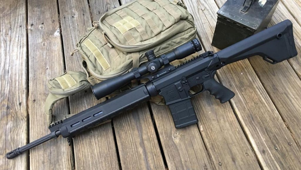 The Windham Weaponry R20FFTM-308 is an AR-10 type design with a fixed, rifle -length stock.