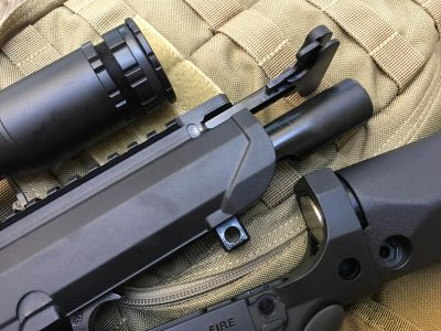 The upper and lower receivers separate just like a standard AR-15, they're just bigger.
