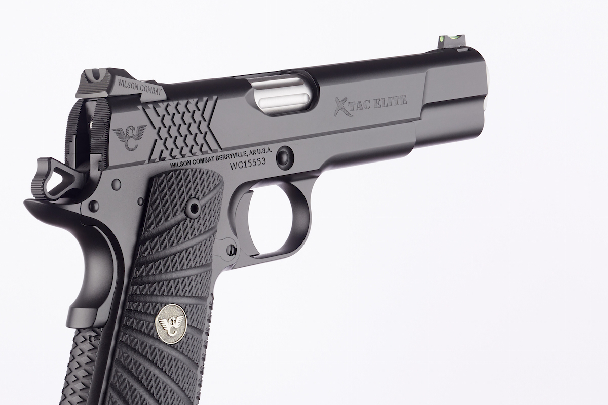 The x-pattern theme on the X-TAC Elite pistol is carried over to the slide serrations at the rear of the slide.