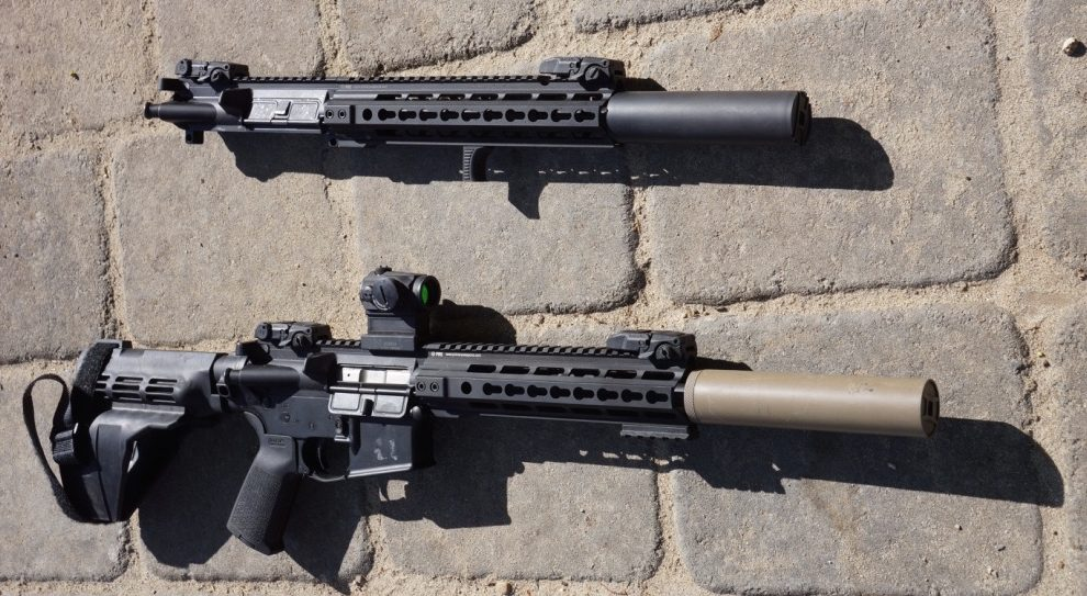 Top, PWS MK114 5.56 pistol upper receiver, with Gemtech Patrolman 5.56 suppressor. Bottom, PWS MK114 300AAC pistol complete, with Gemtech GMT300BLK suppressor. Magpul BUIS on both.