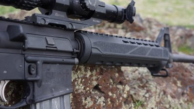 The slightly triangular-shaped hand guard by Bravo Company Manufacturing comes standard with internal heat shields.
