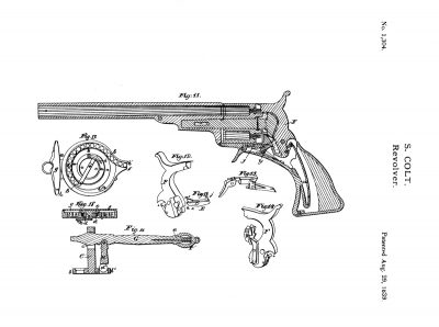 Samuel Colt's patent drawing for the No. 5 Holster Model is dated August 29, 1839. However, this is one of two pages detailing changes to accessories for the No. 5 Models, which had been in production since 1838. This patent drawing details the Paterson capper and combination tool. The gun illustration shows 10 moving parts in the Paterson Colt revolver. Colt simplified this to only six by the time the Walker Colt was built in 1847. (Dennis Levett collection).