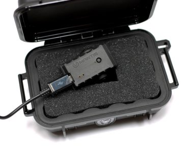 The MantisX arrives packaged in Pelican branded case with fitted foam insert. A micro-USB charging cable is provided for recharging the MantisX between practice sessions.