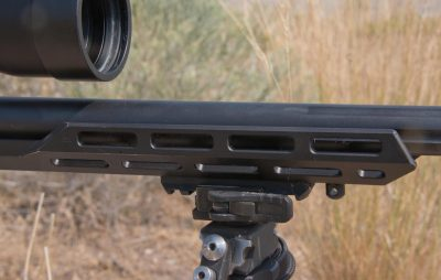 The hand guard portion of the stock features M-LOK attachment points and is short and compact.