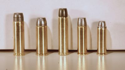 The .500 S&W Mag. round (left) is shown next to the .500 Linebaugh, .460 S&W Mag., .454 Casull and .44 Mag. rounds.
