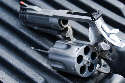 The lockup of the new X-Frame revolver was designed around a center pin in the rear of the cylinder, mated with a ball detent in the frame.