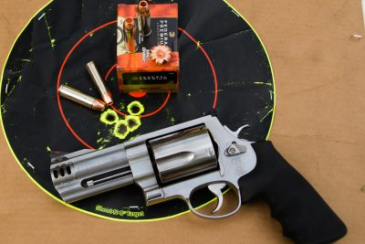 The author did a test of the accuracy potential of the .500 at 21 feet with the Federal load.