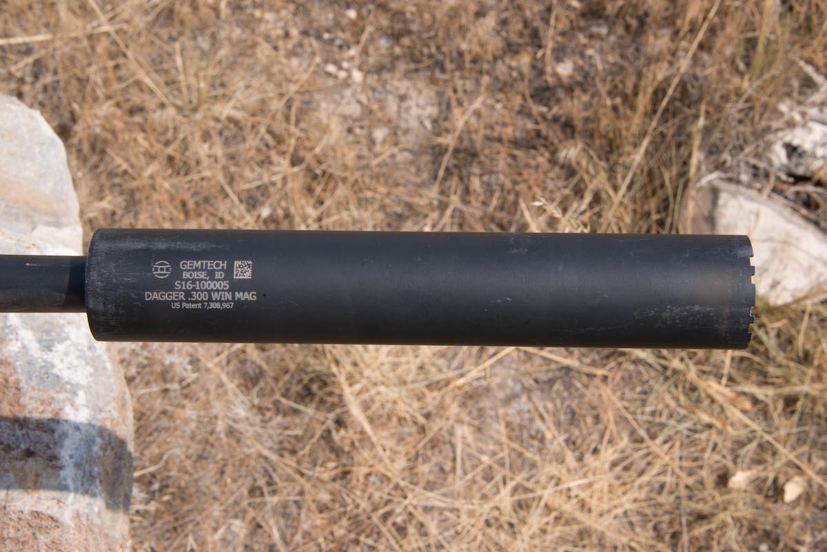 The GEMTECH Dagger used by the author fit easily on the rifle's threaded muzzle, and is rated up to .300 WM.