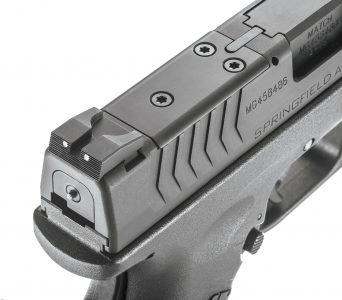 The OSP comes with a plate system for attaching optics to the pistol. Shown with cover plate attached.