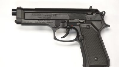 A Daisy Powerline 340 bb gun similar to the replica gun carried by 14-year-old Dedric Colvin when he was shot by Baltimore Police last April. The replica gun resembles a Beretta M9. (Jerry Jackson / Baltimore Sun)