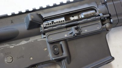 the dust cover on the rifle is an effective polymer unit that worked well for the author.