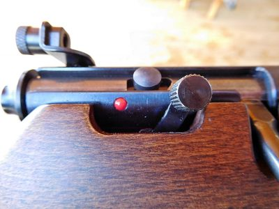 One of the most important features of the Rascal is its safety, which allows the rifle to be cycled while engaged and reveals a red dot when ready to fire.