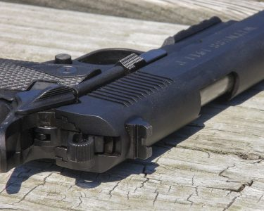 The rear sight is strictly old-school. But the author found it refreshingly simple and effective.