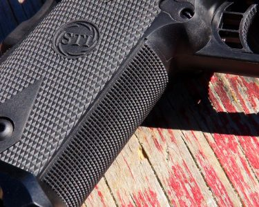 The fine polymer checkering provides excellent grip.