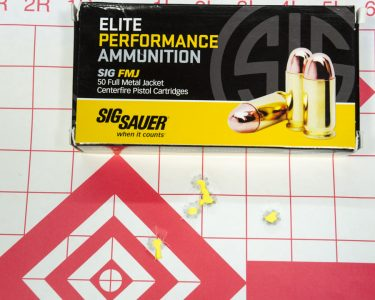 The Sig Sauer Elite FMJ ammo shot a 2.58-inch, five-shot group at 25 yards.