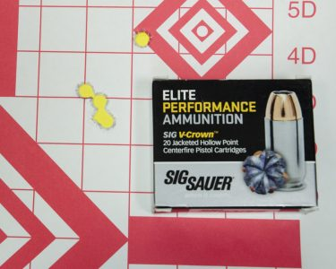 And the best performer was the Sig Elite V-Crowm load, with a 1.921-inch, five-shot group.
