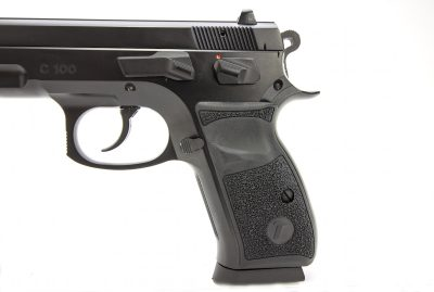 The non-ambidextrous primary controls are made up of a manual safety, slide lock and magazine release.