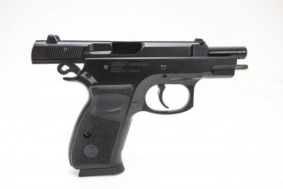 Note the very small slide height of the C100 pistol, due to the fact the frame wraps up and around rails on the slide.