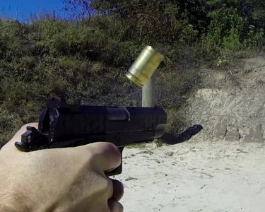 Even with the ejected case only inches away, the Hex Tactical is back on target for the next shot.