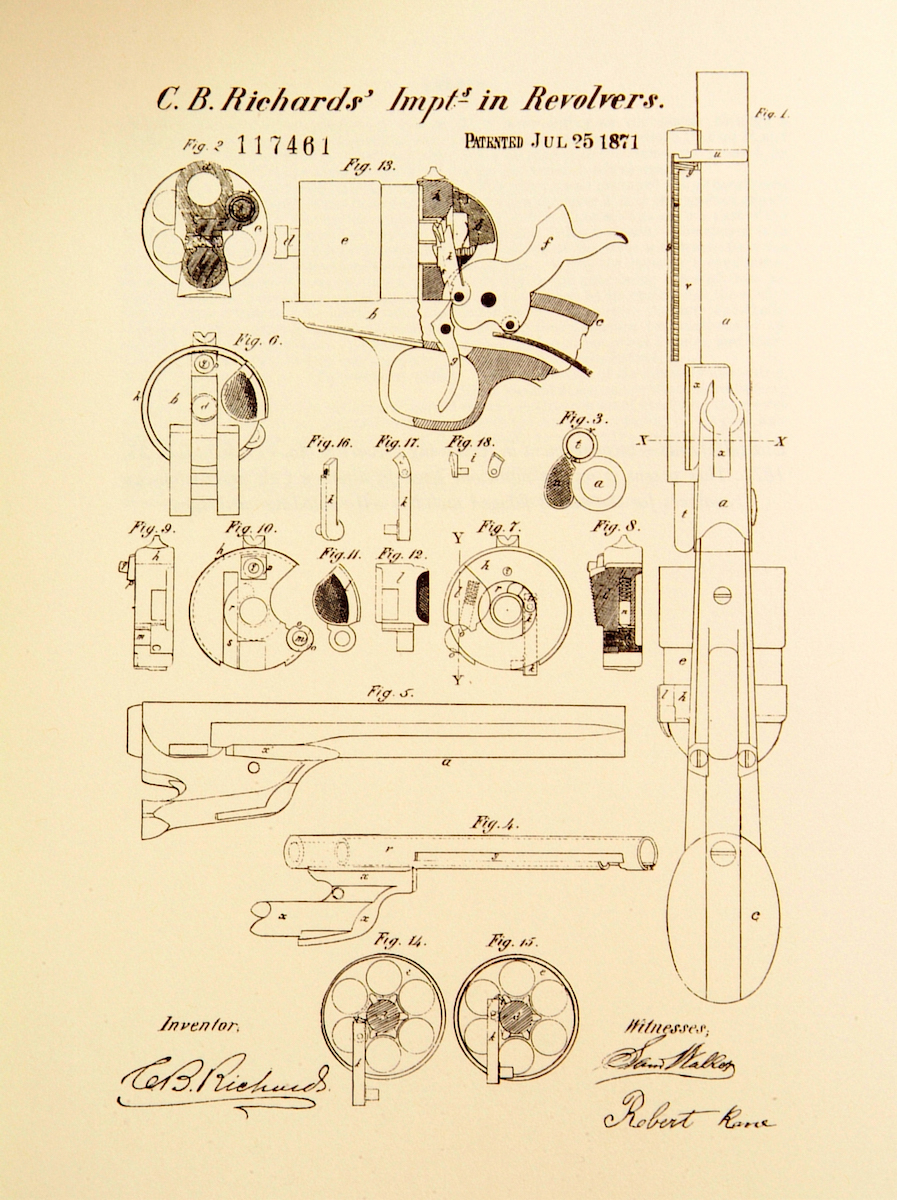 Cowboy Time Machine The Mysterious 1860 Army Cartridge Conversions Pump Action Shotgun Diagram Cb Richards Patent Dated Jul 25 1871 Was Colts First Patented Design For Converting To A Breech Loading Firing Revolver