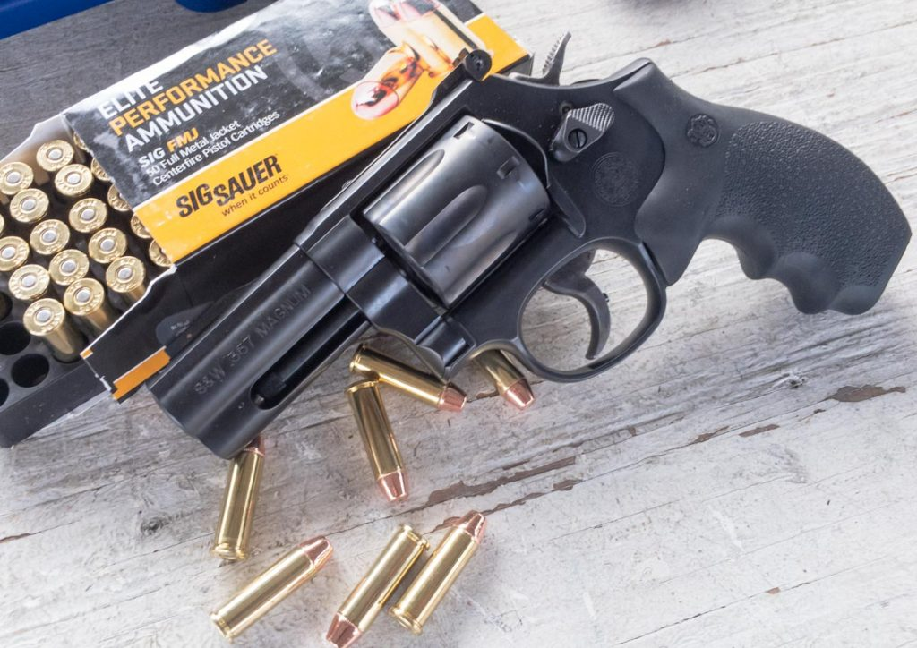 I tested the 586 with all .357 Magnum ammo, like this Sig Sauer 125-grain FMJ, as it was so comfortable to shoot higher power loads.